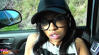 Ebony hipster babe Leah fucks and swallows cum in a car