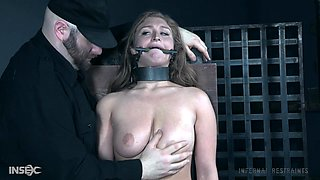 Blonde slut Skylar Snow forced to pee while being abused