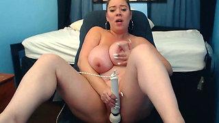 Huge Tits Dildo Fuck and Big Clitoris Contraction in Closeup