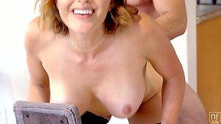 Juggy temptress Krissy Lynn is having crazy sex fun in the kitchen