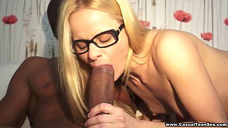 Czech cutie in glasses enjoys a huge black cock in her cunt