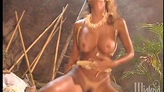 Stunning exotic beauty fucks a guy in a lifeboat amid the jungle