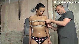 Pierced Bondage Babe Restrained For Toying