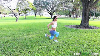 Girl seduced by a handsome hunk after an outdoor workout