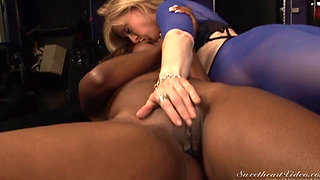 Sexy blonde licking a black pussy