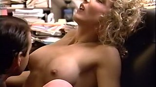 Blonde curly haired classic milf pleasured orally in the office