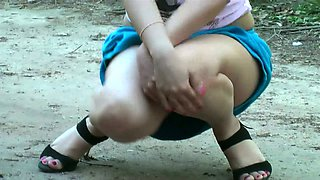 Fantastic amateur teen flashes her juicy ass upskirt behind the house