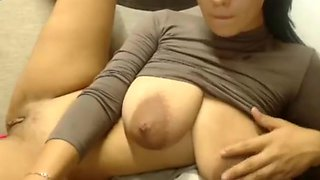 Mega orgasm and squirt of a pregnant girl with milk tits