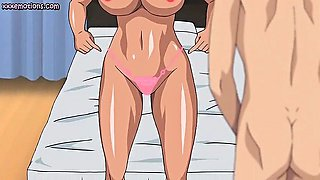 Big meloned anime babe licking fat cock
