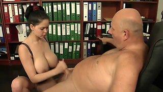 old boss stalking big tit secretary