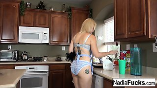 Steaming hot interracial threesome in the kitchen
