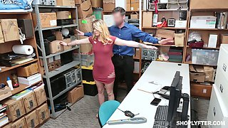 Naughty blonde in glasses Taylor Blake is punished for shoplifting