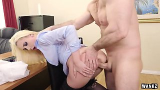 Naughty secretary in stockings Roxy Nicole is having dirty sex with her boss