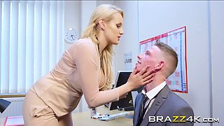 Busty blonde boss lady gets her hungry pussy drilled by horny employee