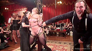 Sex-appeal mistress Syren De Mer punishes pussies of two tied up chicks