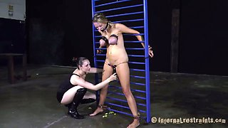 Nasty video of Rain DeGrey getting abused in a hardcore BDSM video produced by Infernal Restraints