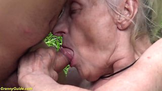 busty 85 years old granny first time rough outdoor banged by a  man