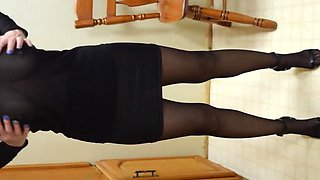 Suspender pantyhose and see through top revisited