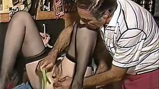 Slutty white classic brunette wit hairy pussy teased with veggies