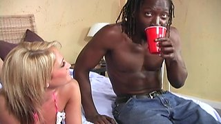 Naughty Spring Thomas gets her wet cunt pounded by a black guy