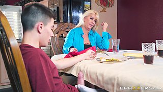 Sucking a cock under the table during dinner makes Karlie Brooks a slut