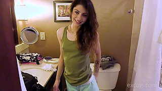 Slim girl Chloe rides a friend's dick like there is no tomorrow