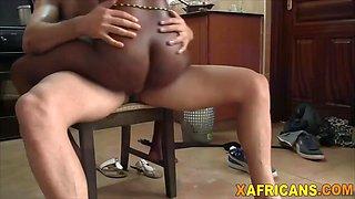 curvy african babe takes white schlong in kitchen