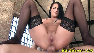 Butt banged babe blows dick ass to mouth