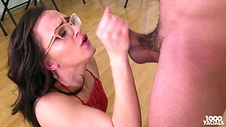 Nerdy Alex More is on her knees slurping a dick and licking balls