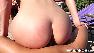 Naughty babe Avalon Heart rides dick at a private pool