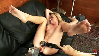 madison scott opens her legs to ride sybian after getting fucked by machine