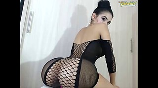 Camgirl living doll in net dress