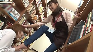 japanese lesbian foot worship in library