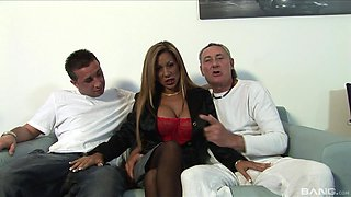 Gorgeous MILF Demi Delia attacked by two nasty fellows