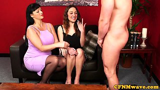 Mature CFNM slut shares cock with stepteen