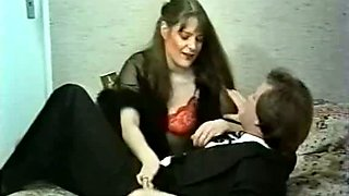 Long haired vintage babe fondles her husband  and rides his cock with tight anal hole