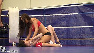 Angelica Heart and Denisa Doll wrestling and eating pussy