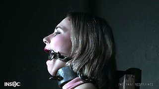 Submissive amateur blonde Red August has her pussy clamped in bondage