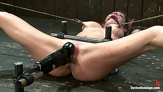 Crazy Machine Fucking for Bounded Babe in Bondage Porn Vid