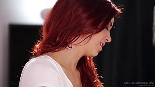 Redhead lesbian and her partner lick each other out
