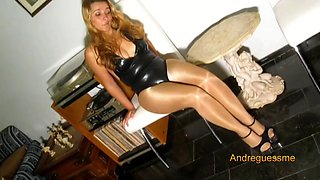 Sexy girl tease you wearing shiny glossy pantyhose