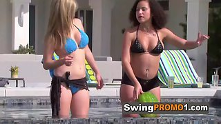Wives take a dip at the pool while they strip down to foreplay