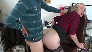 Colleague Teen seduce the new Guy to Fuck on Work German