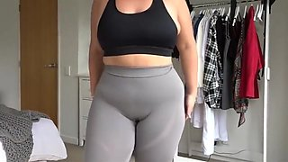 BBW Cameltoe in Yoga Pants fast motion 2