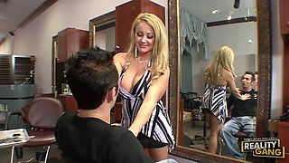 Busty Blonde Slut Loves Taking Two Cocks at the Salon