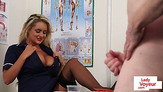 Gorgeous UK nurse helps patient shoot jizz