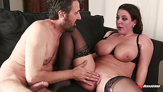 Angela White dolls up for a shag with a good-looking hunk