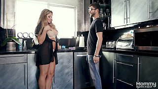 Mega busty milf Farrah Dahl gets in pants of her step son and gives him a great blowjob