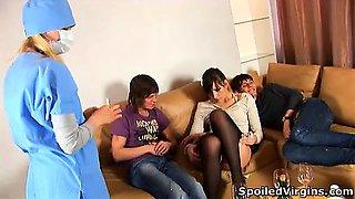 Masha deflowered by two perverted guys.