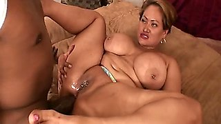 Sexy ebony BBW babe takes a really hard black cock